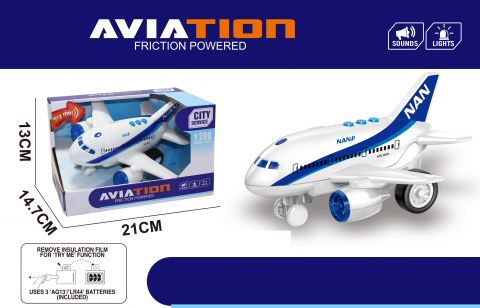 19cm Friction Airplane With Light And Sound