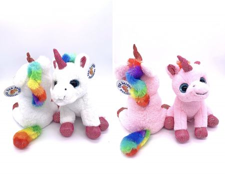 20cm Large Plush Standing Rainbow Unicorn PL002