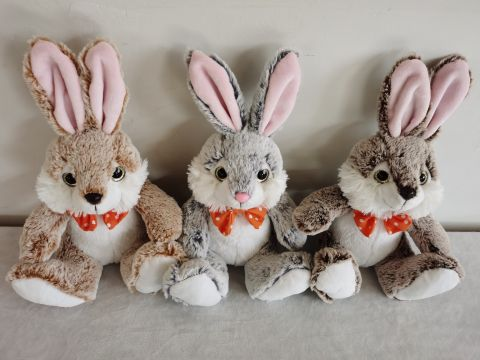 23cm Plush Big Ear Rabbit 3 Astd Colours