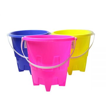 """3 Assorted 8"""" Large Round Castle Bucket SP037"""