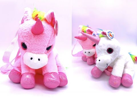 30cm 2 Assorted Plush Unicorn Backpack