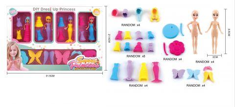 4 Assorted Dress Up Princess Doll