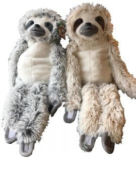 40cm 2 Assorted Plush Sloth With Velcro Hands And Feet