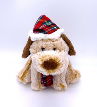 """9"""" Cute Sitting Dog with Tartan Hat and Scarf PL036"""