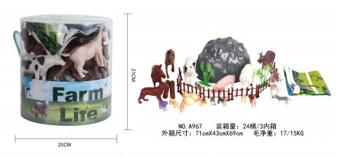 Giant Tub With 34 Pieces Farm Animal Play Set
