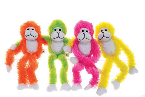 4 Asst. Colourful Monkey with Velcro Hands