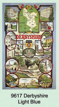 Derbyshire Light Blue Tea Towel