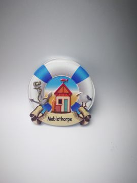 Mablethorpe Beach Hut Lifebuoy Magnet