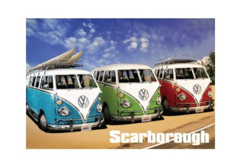 Scarborough Camper Van Metal Magnet