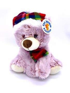 """12"""" Soft Sitting Bear with Tartan Hat and Scarf PL035"""