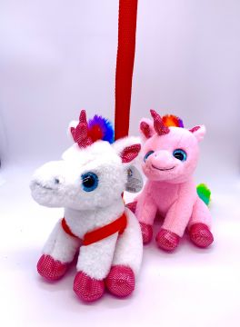 20cm Plush Unicorn With Lead 4 Astd