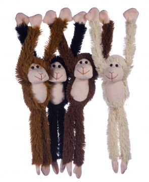 4 Astd Natural Colours Monkey With Velcro Hands