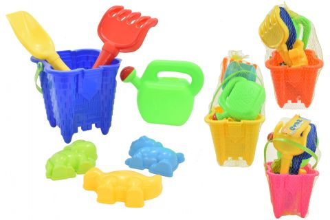 20cm 7 piece Castle Bucket Set with Watering Can
