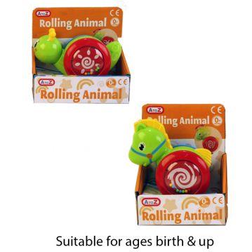 Roll Along Animals - 3 Astd 12 x 16 x 8cm Birth & Up