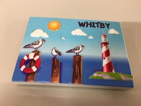 Whitby Seagull & Lighthouse Plaque Resin Magnet